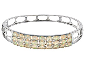 Multi color Ethiopian opal sterling silver bangle bracelet 6.47ctw