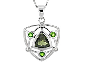Green Moldavite Sterling Silver Pendant With Chain 2.00ctw