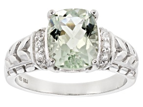 Green Prasiolite Sterling Silver Ring 2.98ctw