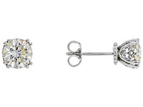 White Fabulite Strontium Titanate Sterling Silver Stud Earrings 3.36ctw