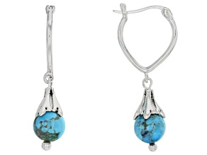 Blue turquoise bead sterling silver dangle earrings