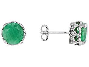 Green Emerald Sterling Silver Earrings 4.09ctw