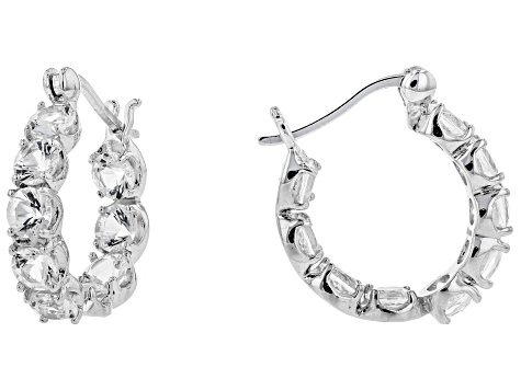 White Danburite Sterling Silver Hoop Earrings