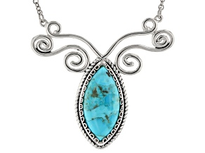 29x14mm Marquise Cabochon Turquoise Sterling Silver Necklace
