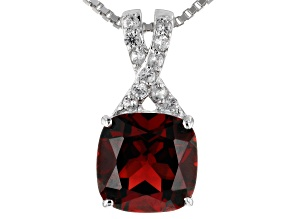 Red Garnet Silver Pendant With Chain 2.43ctw