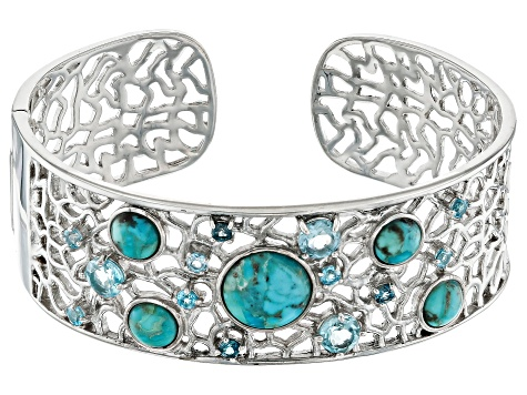 Round Turquoise With 3.95ctw Swiss Blue, London Blue And Sky Blue Topaz Rhodium Over Silver Bracelet