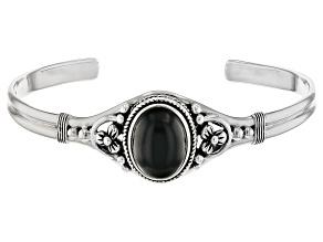 16x12mm Oval Cabochon Black Obsidian Sterling Silver Cuff Bracelet