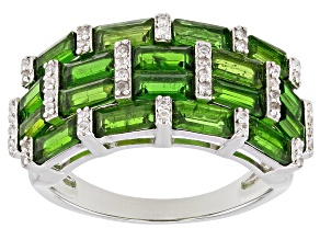 Green Russian chrome diopside sterling silver band ring 3.30ctw