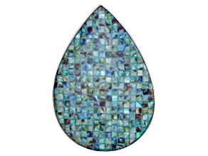Pear Shape Abalone Shell Mosaic Doublet Rhodium Over Sterling Silver Pendant