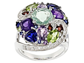 Green fluorite sterling silver ring 6.30ctw