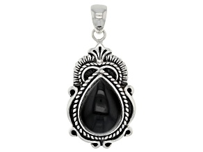 16x12mm Pear Shape Cabochon Obsidian Sterling Silver Pendant