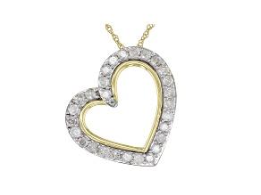 White Diamond 10k Yellow Gold Heart Pendant 1.00ctw