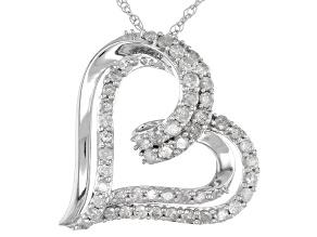 White Diamond 10k White Gold Heart Pendant 1.00ctw