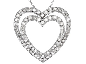White Diamond 10k White Gold Heart Pendant 2.00ctw