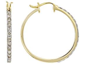 White Diamond 10k Yellow Gold Hoop Earrings 0.95ctw