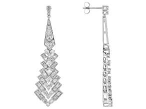 White Diamond 10k White Gold Dangle Earrings 2.00ctw
