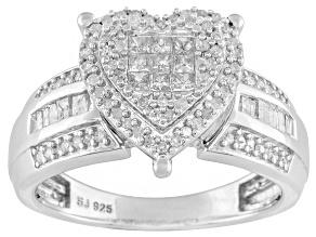 Diamond Sterling Silver Heart Shape Ring .55ctw