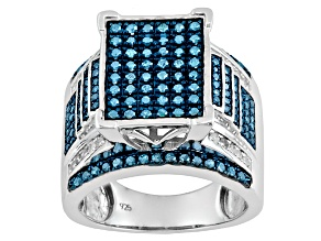Blue And White Diamond Silver Ring 1.00ctw