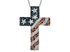 Womens American Flag Cross Necklace Blue Red White Diamond 1ctw Sterling Silver