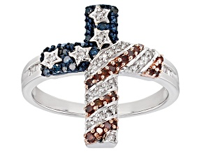 White, Blue And Red Diamond Rhodium Over Sterling Silver Ring .33ctw