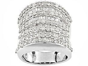 Diamond 3.00ctw Round And Baguette Rhodium Over Sterling Silver Ring