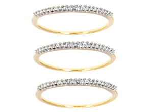 Diamond 14k Yellow Gold Over Silver Ring Set Of 3 .25ctw