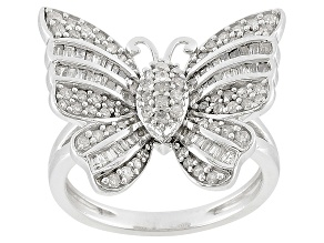 Diamond .75ctw Round And Baguette Rhodium Over Sterling Silver Butterfly Ring