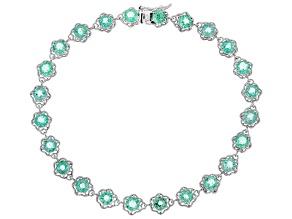 Green Ethiopian Emerald Rhodium Over 10K White Gold Bracelet  4.48ctw