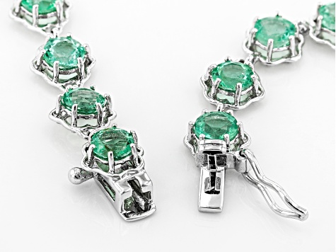 Green Ethiopian Emerald Rhodium Over 10K White Gold Bracelet  4.48ctw