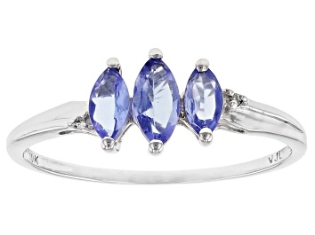 Picture of Blue Tanzanite 10k White Gold Ring 0.46ctw