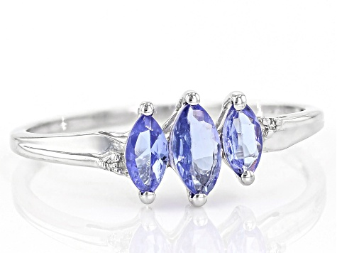 Blue Tanzanite 10k White Gold Ring 0.46ctw