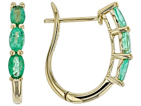 Green Ethiopian Emerald 10k Yellow Gold Hoop Earrings 1.27ctw.