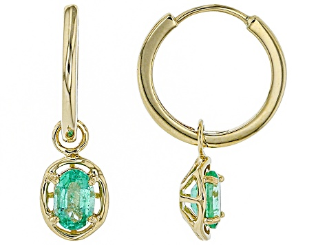 Green Ethiopian Emerald 10k Yellow Gold Charm and Hoop Earrings .85ctw