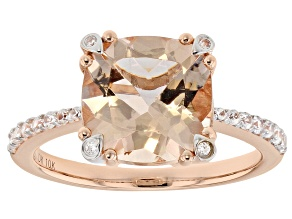 Pink  Morganite 10k Rose Gold Ring 3.19tw