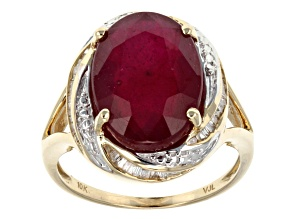 Mahaleo Ruby 10k Yellow Gold Ring 7.15ctw.