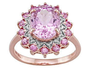 Pink Kunzite 10k Rose Gold Ring 3.82ctw.
