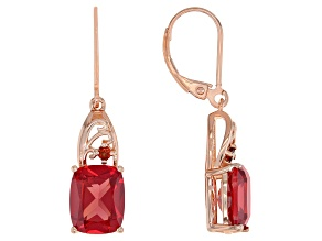 Orange Lab Created Padparadscha Sapphire 18k Rose Gold Over Silver Earrings 6.05ctw