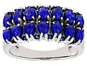 Blue Lapis Lazuli Rhodium Over Sterling Silver Ring 0.10ctw