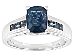 Blue Rectangular Cushion Lab Created Alexandrite Rhodium Over Sterling Silver Ring 1.81ctw