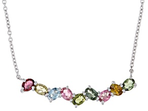Multi-Color Tourmaline Rhodium Over Sterling Silver Necklace 1.36ctw