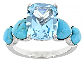 Sky Blue Topaz With Heart Shaped Turquoise Rhodium Over Sterling Silver Ring 4.25ct