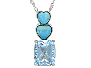 Sky Blue Topaz Rhodium Over Sterling Silver Pendant With Chain 4.25ctw