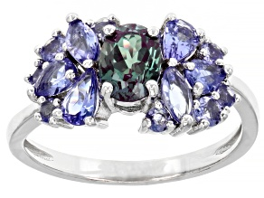 1.97ctw Blue Oval Lab Alexandrite And Tanzanite Rhodium Over Sterling Silver Ring