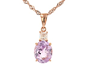 Pink Kunzite 18k Rose Gold Over Sterling Silver Pendant with Chain 4.90ctw