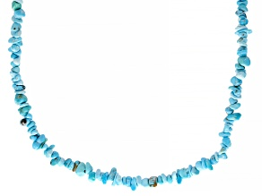 Blue Sleeping Beauty Turquoise Chips Strand Sterling Silver Necklace