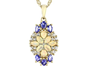 Multi-Color Ethiopian Opal 18k Yellow Gold Over Silver Pendant With Chain 2.06ctw