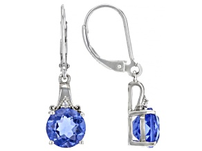 Color Change Fluorite Rhodium Over Sterling Silver Earrings 4.08ctw