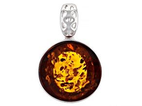 Round Cabochon Cognac Amber Rhodium Over Sterling Silver Pendant 14mm