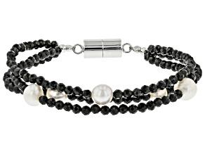 Black Spinel Rhodium Over Sterling Silver Bracelet 28.05ctw