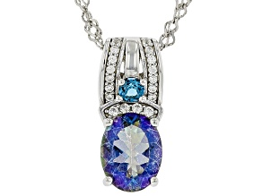 Blue Petalite Rhodium Over Sterling Silver Pendant With Chain 1.70ctw